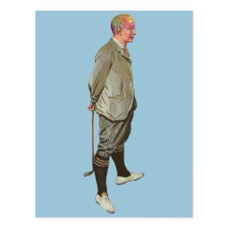 Vintager Phrenologie-Kopf-Golfspieler Postkarte