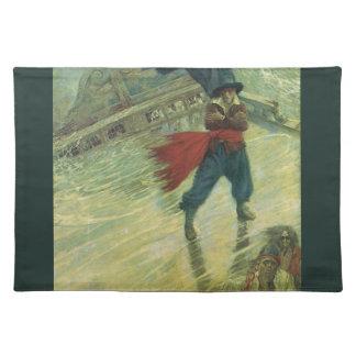 Vintager Pirat, der Fliegende Holländer durch Tischset