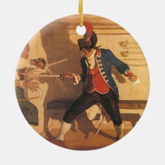 Vintager Piraten-Kapitän, Klinge-Kampf durch NC Rundes Keramik Ornament