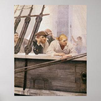 Vintager Piratenbrig-Vertrag in einem Nebel durch Poster