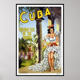 Vintager Plakat-Druck-Kuba-Feiertag Poster