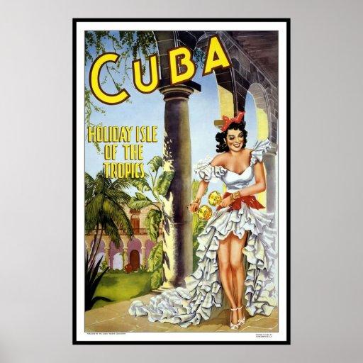 Vintager Plakat-Druck-Kuba-Feiertag
