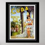 Vintager Plakat-Reise-Besuch Kuba groß