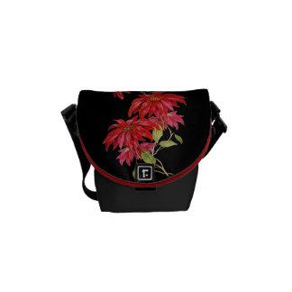 Vintager Poinsettia-Blumen-Stich/Grafik Kuriertasche