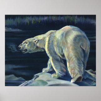 Vintager polarer Bär, arktische Marinelebens-Tiere Poster