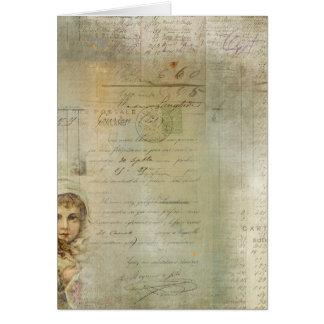 Vintager Posten-und kleines Mädchen-Skript-Collage Grußkarte
