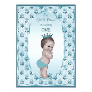 Vintager Prinz Boy und blaue Rosen-1. Geburtstag 12,7 X 17,8 Cm Einladungskarte
