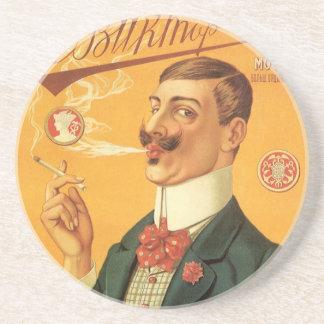 Vintager Produkt-Aufkleber, russischer Sandstein Untersetzer