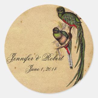 Vintager Quetzal-Vogel-eleganter Umschlag Runder Aufkleber