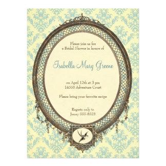 Vintager Rahmen auf Damast-Muster-Brautparty Einladung
