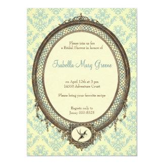 Vintager Rahmen auf Damast-Muster-Brautparty 16,5 X 22,2 Cm Einladungskarte