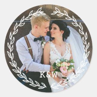 Vintager Rahmen-mit Monogramm Hochzeits-Foto Runder Aufkleber