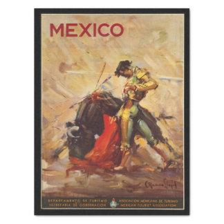 Vintager Reise-Mexiko Stier Fighting Matador Seidenpapier