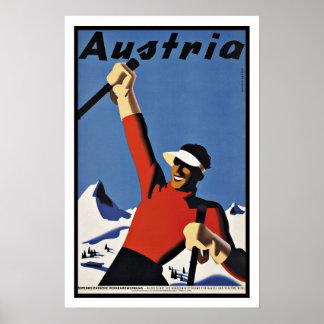 Vintager Reise-Österreich-Ski Poster