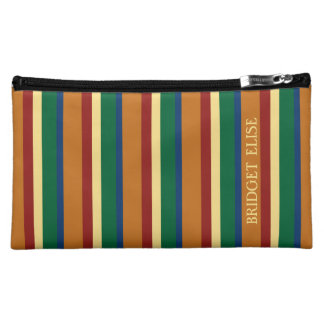 Vintager Reise-Paletten-Streifen personalisiert Cosmetic Bag