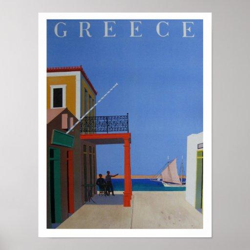 Vintager Reise-Plakat-Druck nach Griechenland