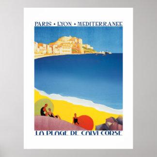 Vintager Reise-Plakat-Mittelmeer-Strand