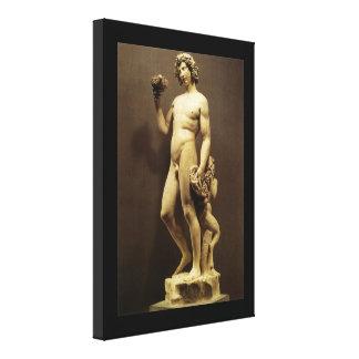 Vintager Renaissance-StatueBacchus durch Leinwanddruck