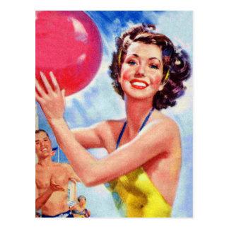 Vintager Retro 60er Wasserball-MädchenKitsch Postkarte