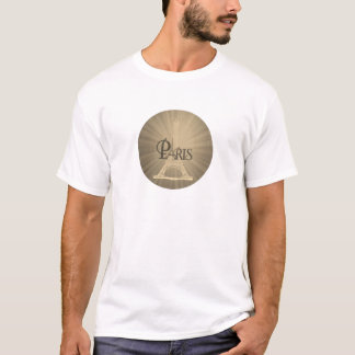 Vintager Retro Art-Eiffel-Turm-Paris-GrauSepia T-Shirt
