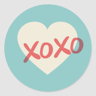 Vintager Retro Aufkleber HerzXOXO Valentines Tages