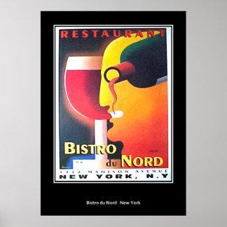 Vintager Retro Druck Restaurant Bistro Du Nord Poster