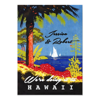 Vintager Retro exotischer Insel-Hochzeits-Empfang 11,4 X 15,9 Cm Einladungskarte