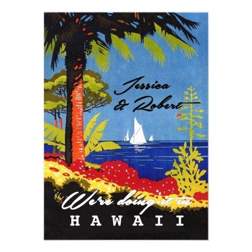 Vintager Retro exotischer Insel-Hochzeits-Empfang Einladungskarte