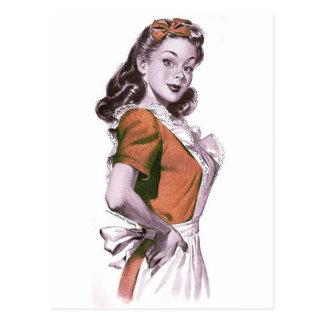 Vintager Retro Frauenkitsch-glückliche Hausfrau Postkarte
