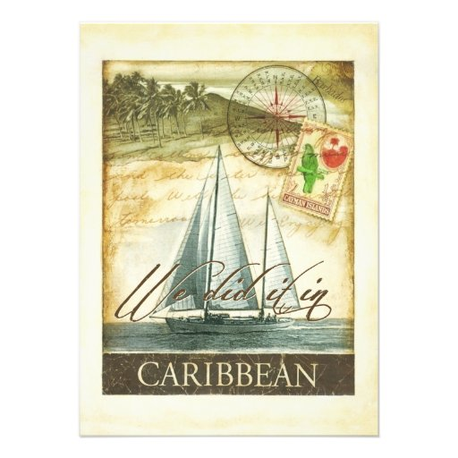 Vintager Retro karibischer Cayman- IslandsEmpfang Personalisierte Einladungskarte