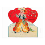 Vintager Retro Kindervalentine-Cowboy kommen u. er Postkarten