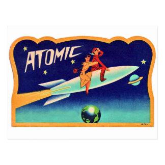 Vintager Retro Kitsch-50er Atomraketen zum Stern Postkarte