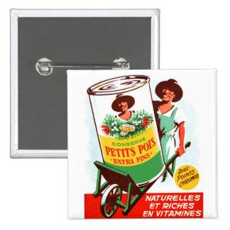 Vintager Retro Kitsch-50er deutsches riesiges Gemü Quadratischer Button 5,1 Cm