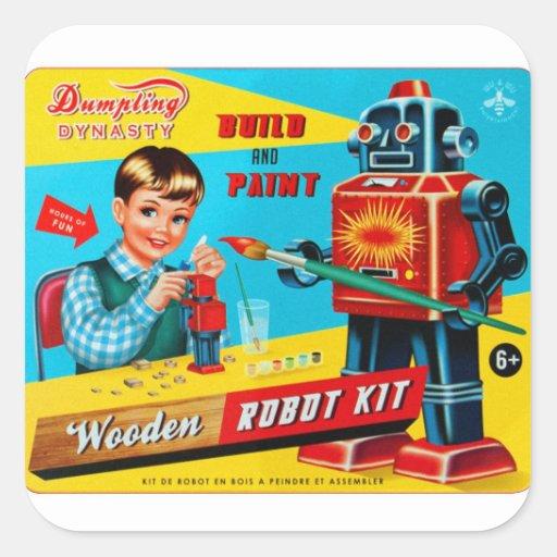 Vintager Retro Kitsch scherzt Spielzeug-hölzerne R Quadratsticker