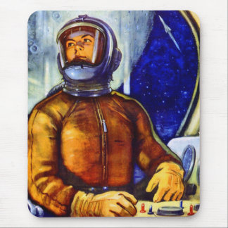 Vintager Retro Kitsch-Sowjet-Kosmonaut Mauspads
