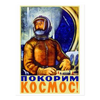 Vintager Retro Kitsch-Sowjet-Kosmonaut Postkarte