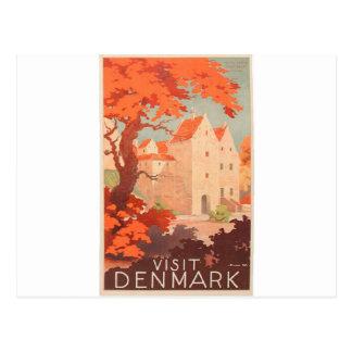 Vintager Retro Plakat-Besuch Dänemark Postkarte