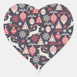 Vintager Retro Weihnachtsmuster-Feiertag Herz-Aufkleber
