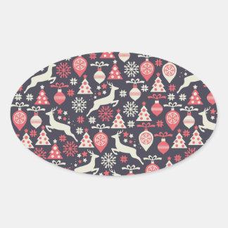 Vintager Retro Weihnachtsmuster-Feiertag Ovaler Aufkleber