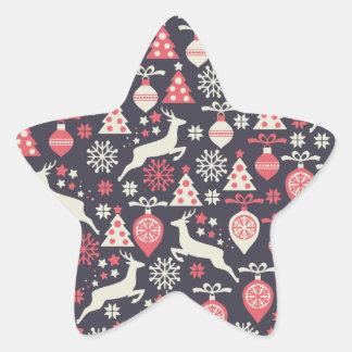 Vintager Retro Weihnachtsmuster-Feiertag Stern-Aufkleber