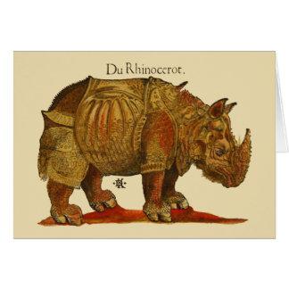 Vintager Rhino-Holzschnitt-Druck - Durers Nashorn Karte