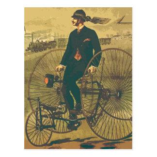 Vintager riesiger Dreiradherr-Schnurrbart lustig Postkarte