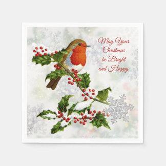 Vintager Robin, Stechpalme, Schneeflocke Papierserviette