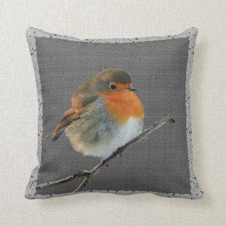 Vintager Robin-Vogel, rustikaler dunkelgrauer Kissen