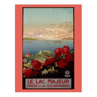 Vintager romantischer See Maggiore italienische Postkarte