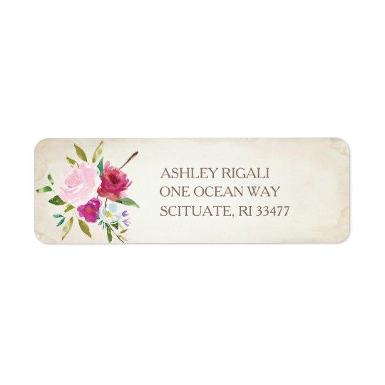 Vintager rosa BlumenRücksendeadresse-Aufkleber Rücksendeetikett