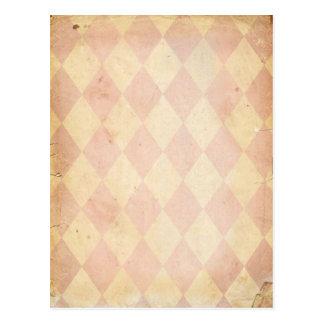 Vintager rosa Diamant-Druck Postkarte