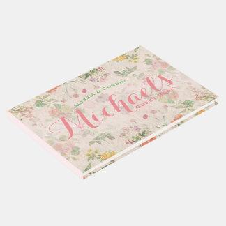 Vintager rosa eleganter Hochzeits-mit Gästebuch