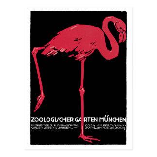 Vintager rosa Flamingo-München-Zoo Postkarte