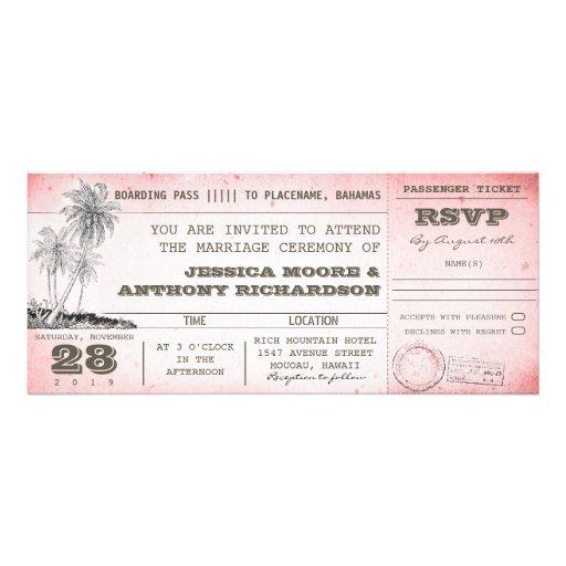 Vintager rosa Hochzeits-Boardingdurchlauf mit Personalisierte Einladungen